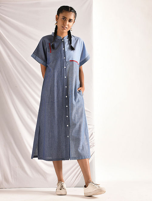 Blue Chambray Button-down Dress with Pockets