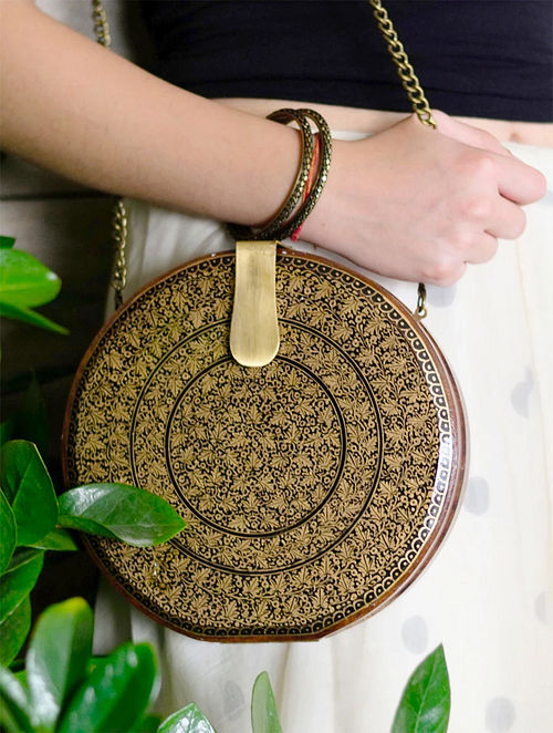 Golden Handpainted Wooden Clutch