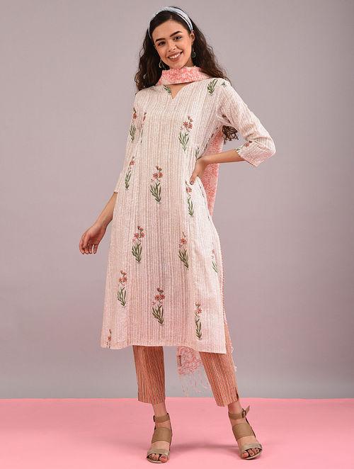KANER - Ivory-Pink Block-Printed Cotton Dobby Kurta