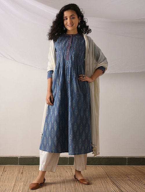 3b800ef3d002a Buy TENGANAN - Blue-Ivory Ikat Cotton Kurta with Top stitch Online at ...