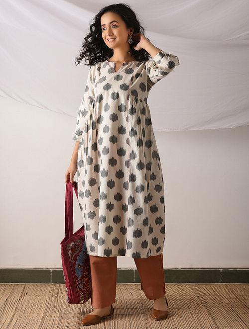 78810532e1d48 Buy SAMBALPUR - Ivory-Black Ikat Cotton Kurta with Top stitch Online ...