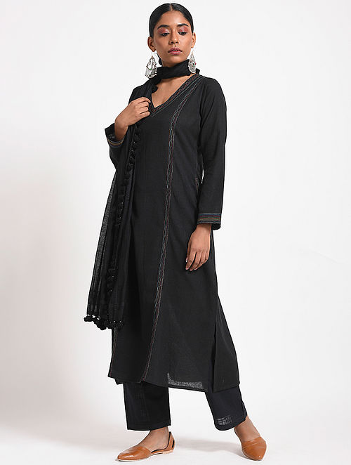 Black Handloom Cotton Kurta with Multicolored Top-stitch