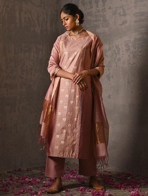 PADMINI - Pink Foil Printed Silk Cotton Kurta with Hand Work