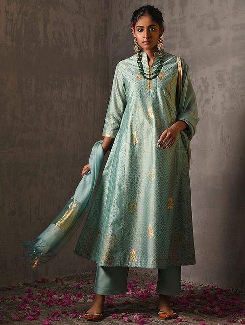 RANAK DEVI - Green Foil Printed Silk Cotton Kurta with Hand Work