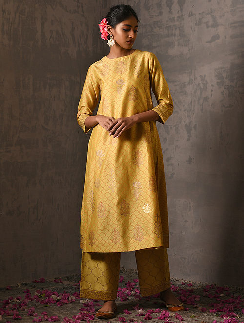 NAWAB BAI - Yellow Foil Printed Silk Cotton Kurta with Slip (Set of 2)