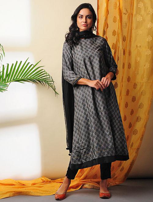 MAYA - Black Printed Handloom Silk Cotton Kurta with Gota