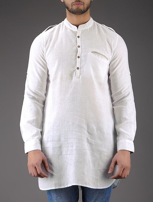 White Mandarin Collar Full Sleeve Linen Kurta