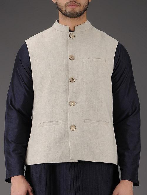 Ivory Mandarin Collar Linen Jacket