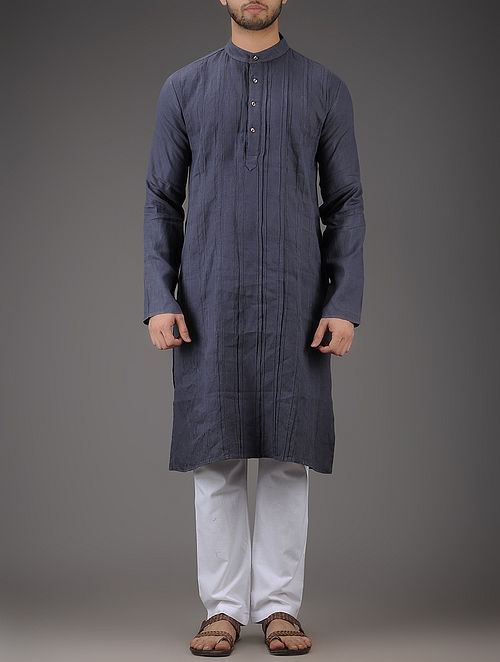 Grey Mandarin Collar Full Sleeve Linen Kurta