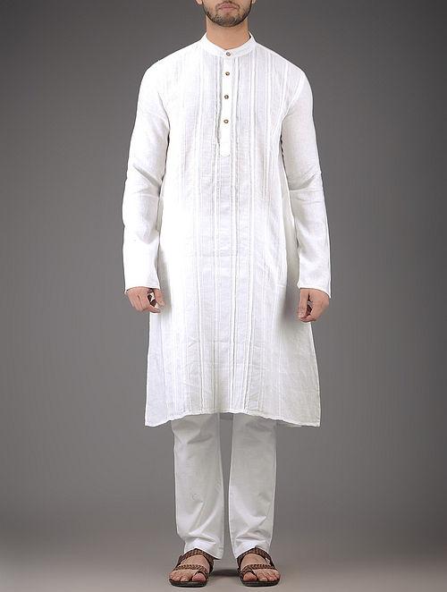 White Mandarin Collar Full Sleeve Linen Kurta