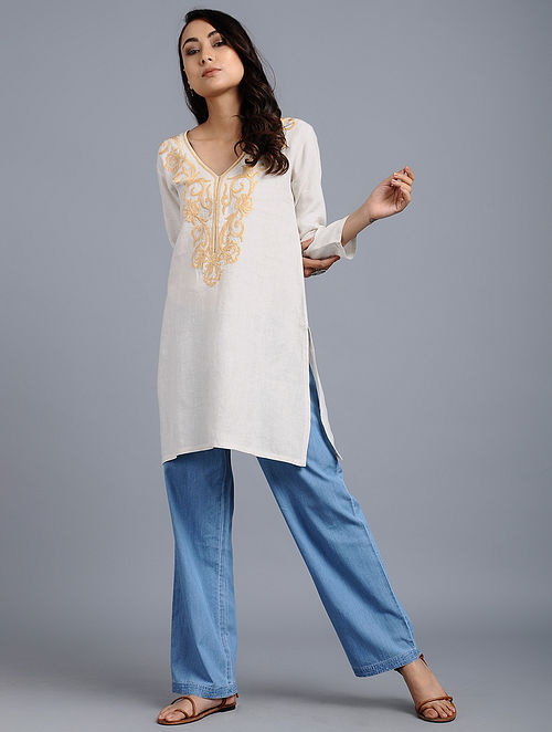 85276df4aec Buy Natural Embroidered Linen Tunic Online at Jaypore.com