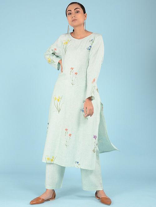 8b7f85d6dd Buy Aqua Hand-embroidered Linen Kurta Online at Jaypore.com
