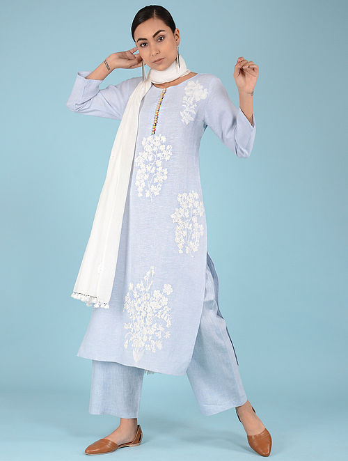 3c76f13408c Buy Pale Blue Embroidered Linen Kurta Online at Jaypore.com