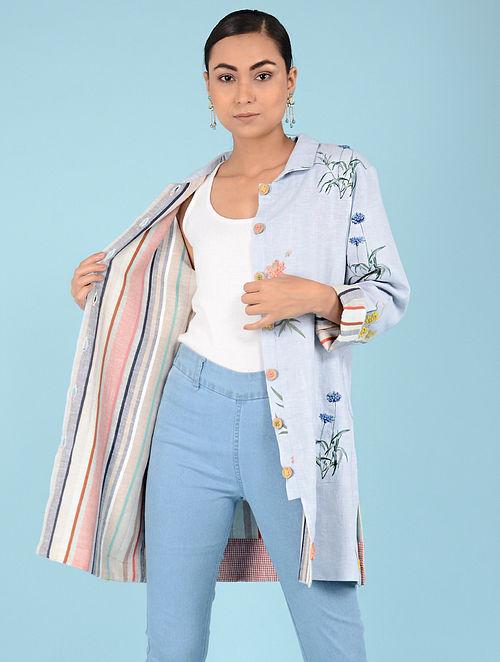 5848f454fcc95 Buy Pale Blue Hand-embroidered Linen Jacket Online at Jaypore.com