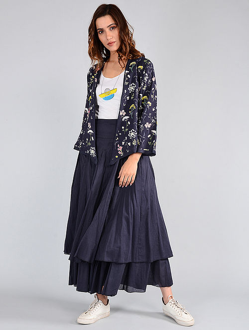 Navy Floral-printed Cotton Jacket