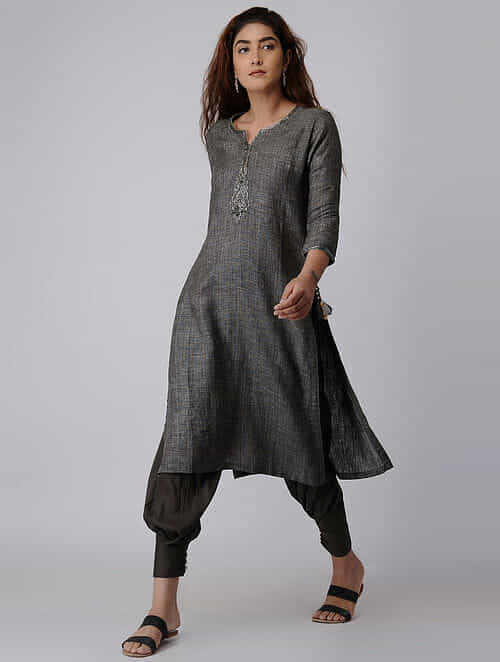 e92deab512 Buy Charcoal Linen Kurta with Zardozi Embroidery Online at Jaypore ...