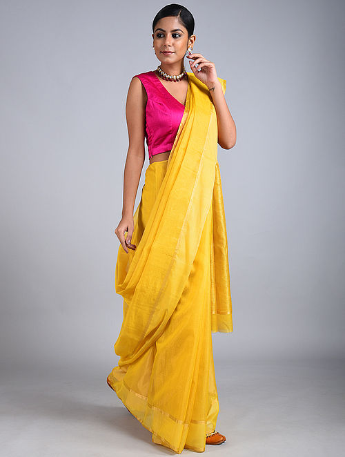 Yellow Handwoven Chanderi Tissue Saree
