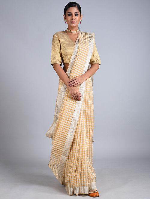 Golden-Silver Handwoven Chanderi Saree