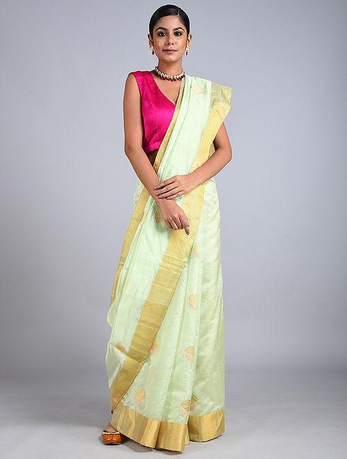 Mint Handwoven Chanderi Silk Saree