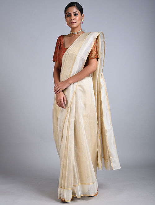 Beige-Ivory Handwoven Chanderi Saree