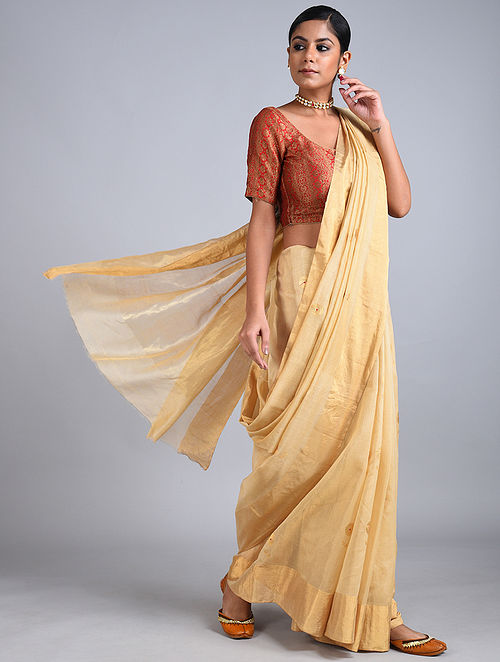 Beige Handwoven Chanderi Tissue Saree