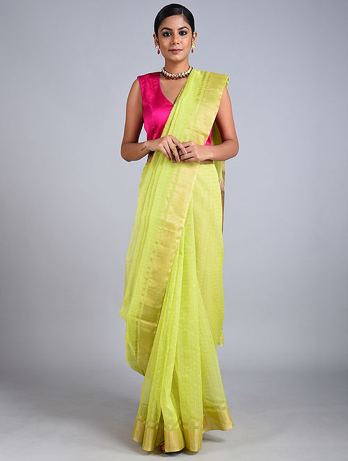 Lime Green Handwoven Chanderi Saree