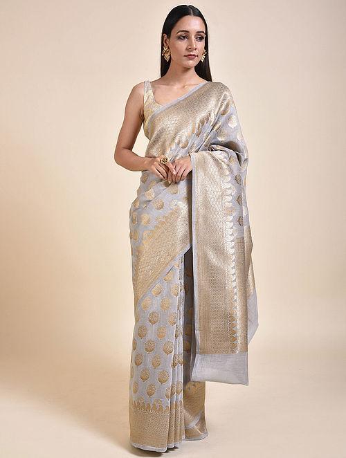 Grey-Gold Handwoven Cotton Saree