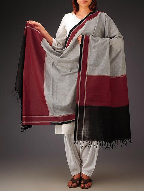 Black-Maroon Telia Design Double Ikat Cotton Dupatta