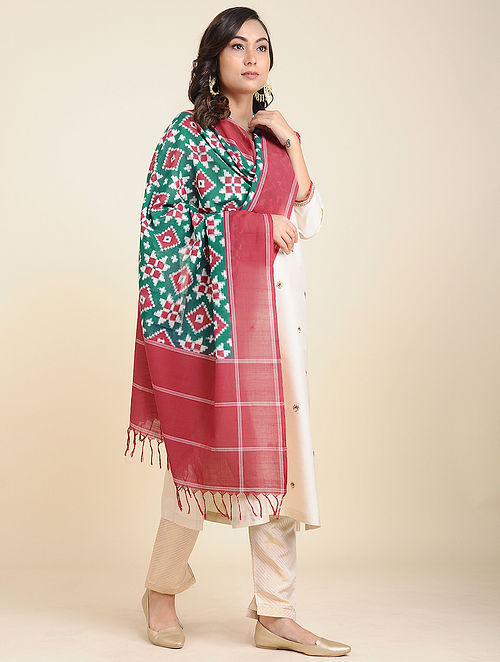 Red-Green Handwoven Double Ikat Cotton Dupatta
