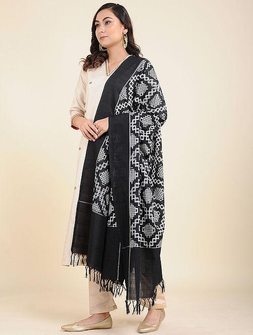 Black-White Handwoven Double Ikat Cotton Dupatta
