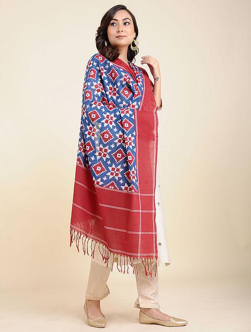 Red-Blue Handwoven Double Ikat Cotton Dupatta