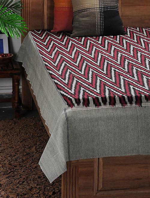 Maroon-Grey Ikat Cotton Double Bedcover ( 105in x 90in)