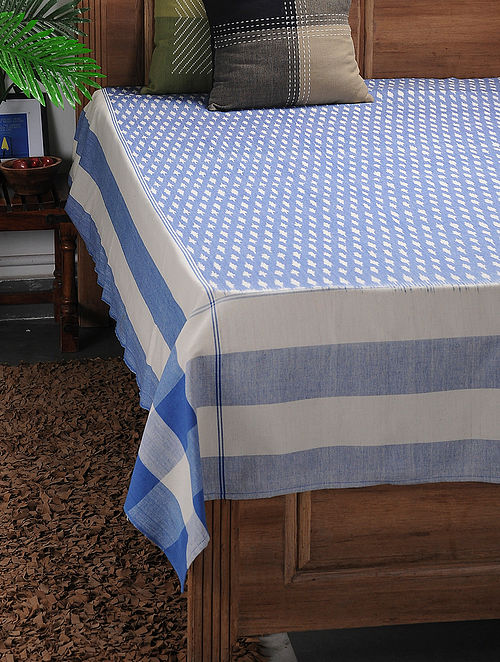 Blue-White Ikat Cotton Double Bedcover ( 106in x 90in)