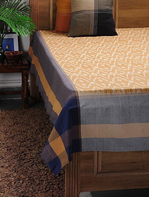 Brown-Blue Ikat Cotton Double Bedcover ( 105in x 90in)