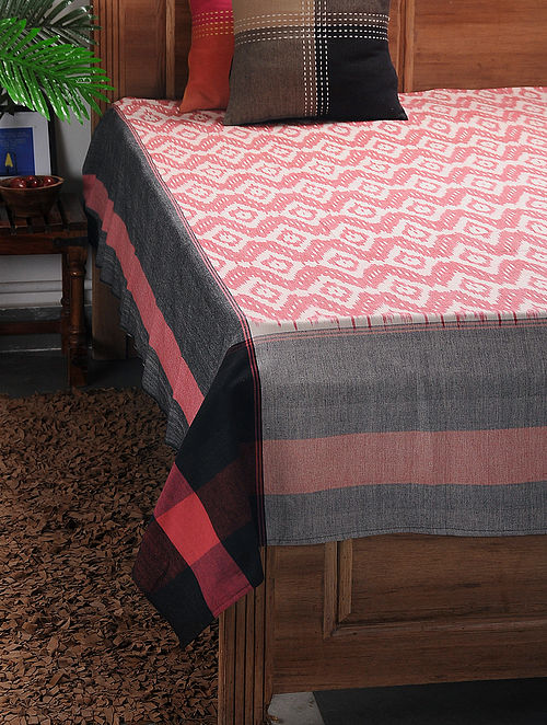 Multicolored Ikat Cotton Double Bedcover ( 106in x 90in)