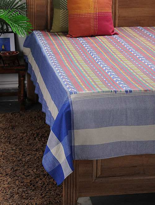 Multicolored Ikat Cotton Double Bedcover ( 107in x 90in)