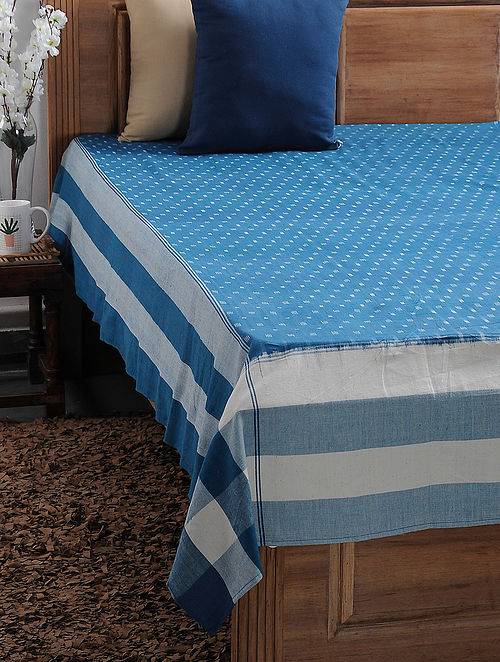Blue and White Ikat Cotton Double Bedcover (108in x 89in)