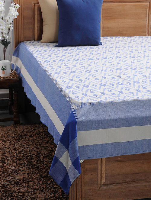 Blue and Beige Ikat Cotton Double Bedcover (108in x 90in)