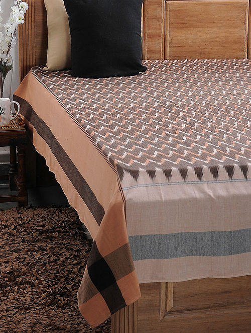 Brown and Beige Ikat Cotton Double Bedcover (108in x 89in)