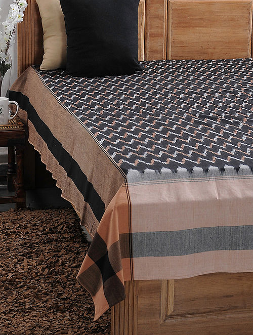 Brown and Beige Ikat Cotton Double Bedcover (108in x 88in)