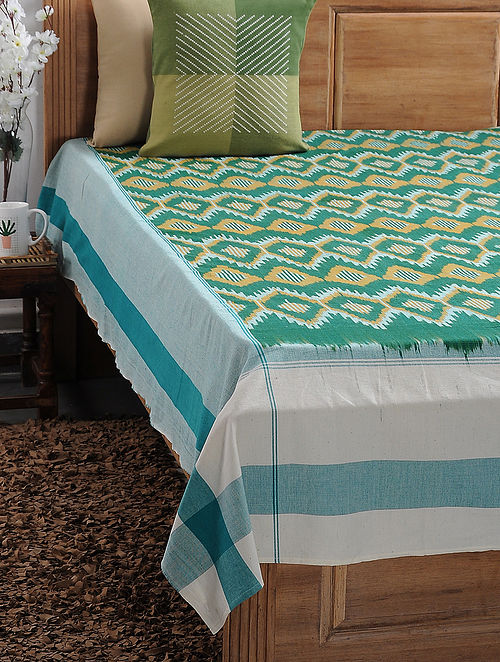 Green Ikat Cotton Double Bedcover (108in x 89in)