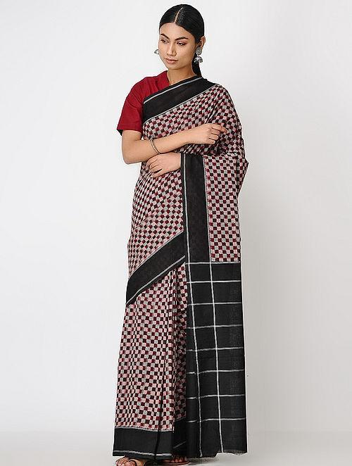 Maroon-Black Ikat Cotton Saree
