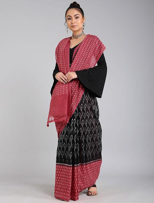 Black-Pink Handwoven Ikat Cotton Saree