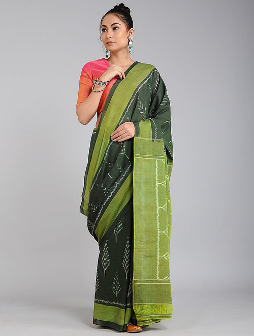 Black-Green Handwoven Ikat Cotton Saree