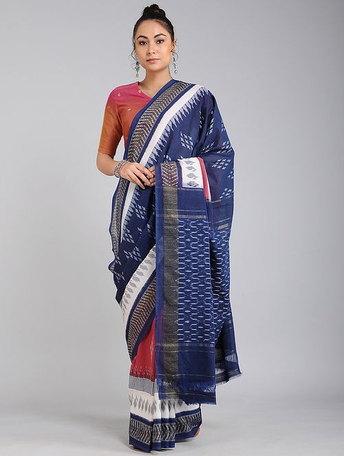 Blue-Ivory Handwoven Ikat Cotton Saree