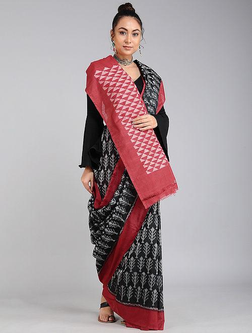 Black-Red Handwoven Ikat Tussar Cotton Saree