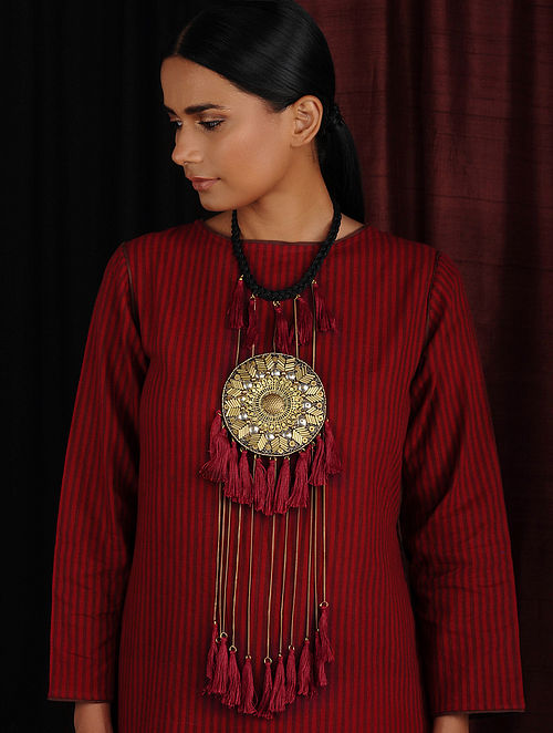 Maroon Gold Hand Embroidered Necklace