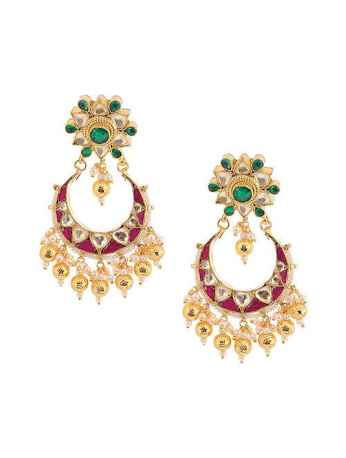Pink Green Gold Tone Kundan Inspired Brass Earrings
