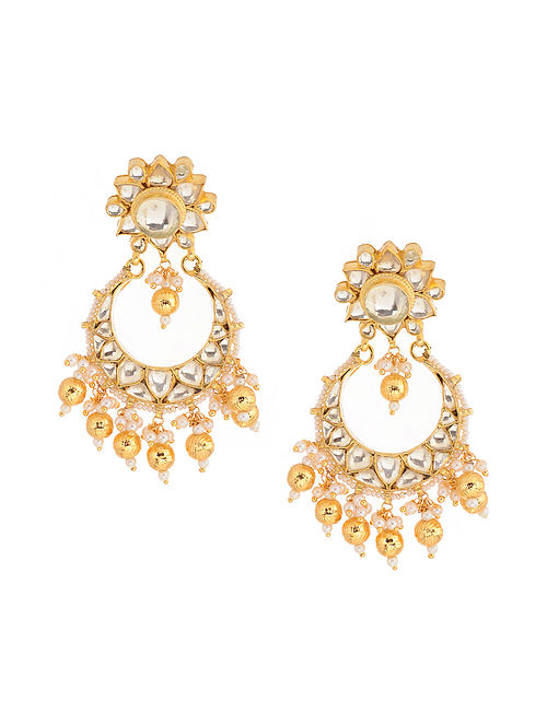 Gold Tone Kundan Inspired Brass Earrings