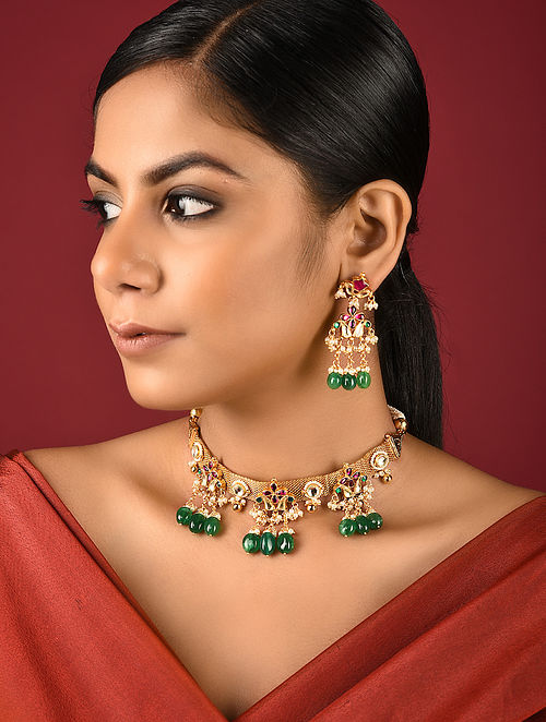 Green Gold Tone Kundan Inspired Brass Necklace with Earrings (Set of 2)